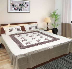 Elephanta Printed Jaipuri Double Bedsheet with 2 Pillow Covers