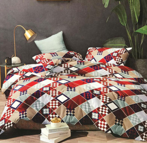 Small cubes printed double badsheet for home decor