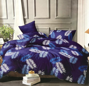 Floral leafs  printed double bedsheet for home decor