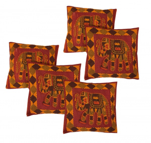 Elephant Print Cushion Cover with Jaisalmer handmade Embroidery (SET OF 5)