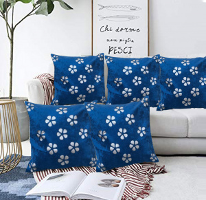 Blue Velvet flower Throw pillow cushion cover (set of 5)