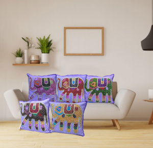 Traditional Jaipuri Elephant Jogi Patchwork Cushion Covers