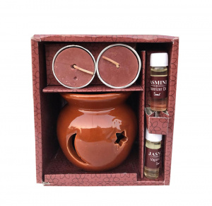 Tealight candle with pot and oil gift set /diffuser set