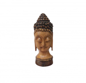 Decor your home with Wooden Meditative Mahatma Buddha Head figure