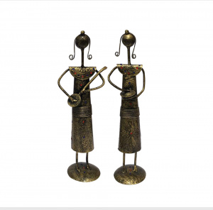 Antique Handicrafts pieces of iron tribal men decorative showpiece (set of 2)
