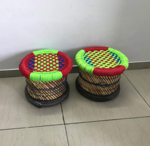 Natural bamboo mudha stool pair for living room , balcony , gardens