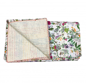 Cotton Indian Razai (Quilt) /  Blanket on White Base with Floral print