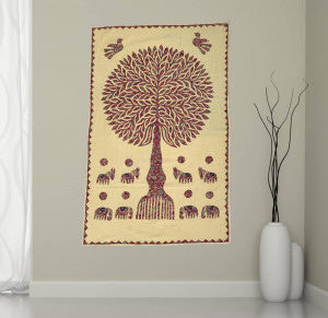 Cotton Wall Hanging for Interior Decor with Banyan Tree Printed
