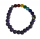 Crystal Stretch Beads Bracelet  with  Seven Chakra Healing surrounding a buddha head.