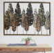Rustic Wall Art frame with natural reflection metal leaf leaves